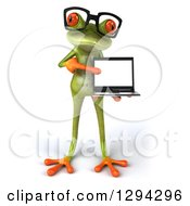 Clipart Of A 3d Bespectacled Green Springer Frog Presenting A Laptop Computer Royalty Free Illustration