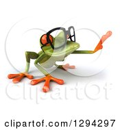 Clipart Of A 3d Bespectacled Green Springer Frog On All Fours Facing Right And Reaching Royalty Free Illustration