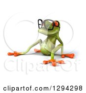 Clipart Of A 3d Bespectacled Green Springer Frog Sitting Back And Facing Left Royalty Free Illustration