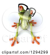 Clipart Of A 3d Bespectacled Green Springer Frog Sitting Back And Looking Up Royalty Free Illustration