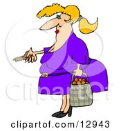 Chubby Woman Unlocking Her Door And Carrying A Bag Of Oranges