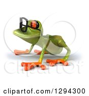 Clipart Of A 3d Bespectacled Green Springer Frog On All Fours Facing Left Royalty Free Illustration