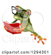 Clipart Of A 3d Bespectacled Green Springer Frog Leaping To The Left And Reading A Book Royalty Free Illustration