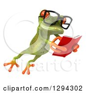 Clipart Of A 3d Bespectacled Green Springer Frog Leaping To The Right And Reading A Book Royalty Free Illustration
