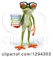 Clipart Of A 3d Bespectacled Green Springer Frog Standing With A Stack Of Books Royalty Free Illustration