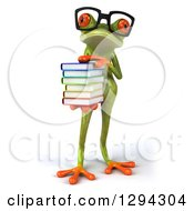 Clipart Of A 3d Bespectacled Green Springer Frog Holding A Stack Of Books Royalty Free Illustration