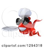 3d Red Fish Chef Wearing Sunglasses Facing Left And Holding A Plate