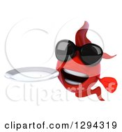 Clipart Of A 3d Red Fish Wearing Sunglasses And Holding A Clean Plate Royalty Free Illustration