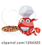 3d Red Fish Chef Holding A Pizza