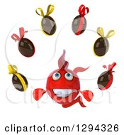 Clipart Of A 3d Red Fish Juggling Chocolate Easter Eggs Royalty Free Illustration