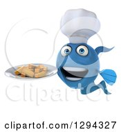3d Blue Chef Fish Holding French Fries On A Plate