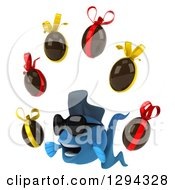 Clipart Of A 3d Blue Fish Wearing Sunglasses Facing Left And Juggling Chocolate Easter Eggs Royalty Free Illustration