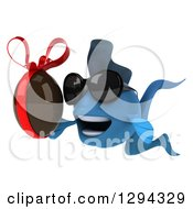 Clipart Of A 3d Blue Fish Wearing Sunglasses Facing Left And Holding A Chocolate Easter Egg Royalty Free Illustration