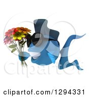 3d Blue Fish Wearing Sunglasses Facing Left And Holding Flowers