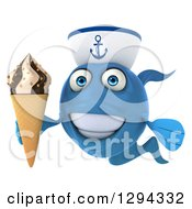 3d Happy Blue Sailor Fish Holding A Waffle Ice Cream Cone