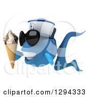 3d Happy Blue Sailor Fish Wearing Sunglasses Facing Left And Holding A Waffle Ice Cream Cone