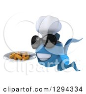 3d Blue Chef Fish Wearing Sunglasses Facing Left And Holding French Fries On A Plate