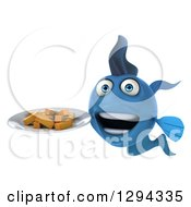 3d Blue Fish Holding A Plate With French Fries