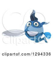 3d Blue Fish Holding A Clean Plate