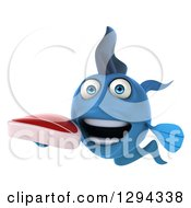 Clipart Of A 3d Blue Fish Holding A Beef Steak Royalty Free Illustration