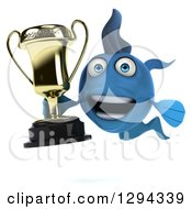 Clipart Of A 3d Happy Blue Fish Holding A Trophy Royalty Free Illustration
