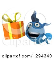 3d Happy Blue Fish Holding An Orange Gift