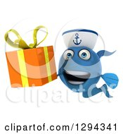 3d Happy Blue Sailor Fish Holding An Orange Gift