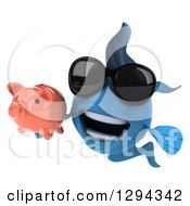 Clipart Of A 3d Blue Fish Wearing Sunglasses And Holding A Piggy Bank Royalty Free Illustration