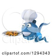 3d Blue Chef Fish Facing Left And Holding French Fries On A Plate