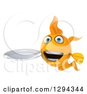 Clipart Of A 3d Goldfish Holding A Clean Plate Royalty Free Illustration