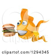 Clipart Of A 3d Goldfish Facing Left And Holding A Double Cheeseburger Royalty Free Illustration