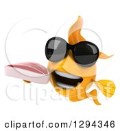 Clipart Of A 3d Goldfish Wearing Sunglasses And Holding A Beef Steak Royalty Free Illustration