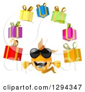 Clipart Of A 3d Goldfish Wearing Sunglasses And Juggling Gifts Royalty Free Illustration