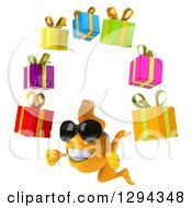 Clipart Of A 3d Goldfish Wearing Sunglasses Facing Slightly Left And Juggling Gifts Royalty Free Illustration