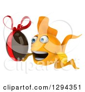 Clipart Of A 3d Goldfish Facing Left And Holding A Chocolate Easter Egg Royalty Free Illustration