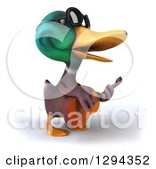 Clipart Of A 3d Mallard Drake Duck Wearing Sunglasses Facing Right Singing And Playing A Guitar Royalty Free Illustration