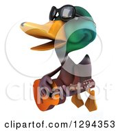 Clipart Of A 3d Mallard Drake Duck Wearing Sunglasses Flying Facing Left Singing And Playing A Guitar Royalty Free Illustration