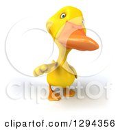Clipart Of A 3d Yellow Duck Pointing Outwards Royalty Free Illustration by Julos