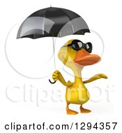 Clipart Of A 3d Yellow Duck Wearing Sunglasses And Reacing Out From Under An Umbrella Royalty Free Illustration by Julos