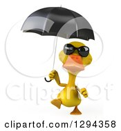 Clipart Of A 3d Yellow Duck Wearing Sunglasses And Walking With An Umbrella Royalty Free Illustration by Julos
