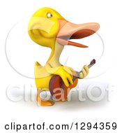 Clipart Of A 3d Yellow Duck Facing Right Singing And Playing A Guitar Royalty Free Illustration by Julos