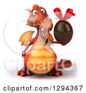 Clipart Of A 3d Red Dragon Holding A Chocolate Easter Egg Royalty Free Illustration