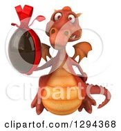 Clipart Of A 3d Red Dragon Flying And Holding A Chocolate Easter Egg Royalty Free Illustration