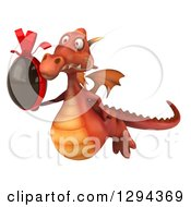 Clipart Of A 3d Red Dragon Flying Slightly Left And Holding A Chocolate Easter Egg Royalty Free Illustration