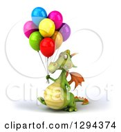 Clipart Of A 3d Green Dragon Walking To The Left With Party Balloons Royalty Free Illustration