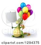 Clipart Of A 3d Green Dragon Holding A Blank Sign And Party Balloons Royalty Free Illustration