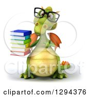 Clipart Of A 3d Bespectacled Green Dragon Holding And Pointing To A Stack Of Books Royalty Free Illustration