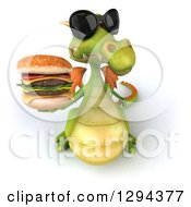 Clipart Of A 3d Green Dragon Wearing Sunglasses And Holding Up A Double Cheeseburger Royalty Free Illustration