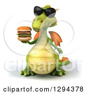 Clipart Of A 3d Green Dragon Wearing Sunglasses And Holding A Double Cheeseburger Royalty Free Illustration