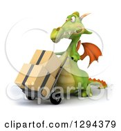 Clipart Of A 3d Green Dragon Moving Boxes On A Dolly Royalty Free Illustration